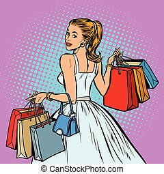 bride shopping, woman with bags