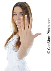 Bride shows ring.