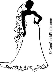 bride silhouette and scribbles