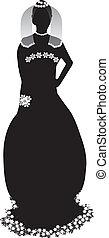 Bride silhouette - Beautiful bride black silhouette on white...