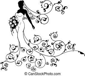 Bride Silhouette Bouquet Wedding Concept