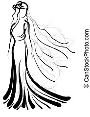bride silhouette - bride. abstract silhouette of woman...