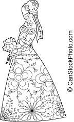 Bride silhouette coloring - Vector bride silhouette coloring