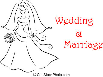 Bride silhouette for marriage and wedding - Bride silhouette...