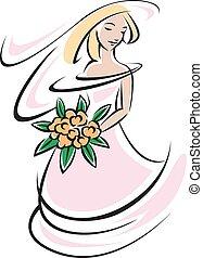 Bride silhouette in pink wedding dress