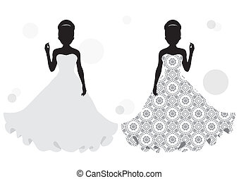 bride silhouette - silhouette of a girl in a long dress...