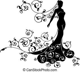 A bride silhouette wedding design with the bride in bridal dress gown and veil with an abstract floral pattern concept design