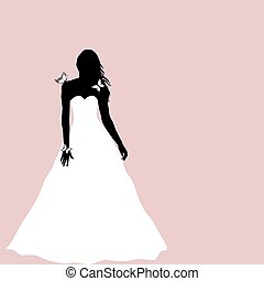 Bride silhouette with butterflies, greeting card