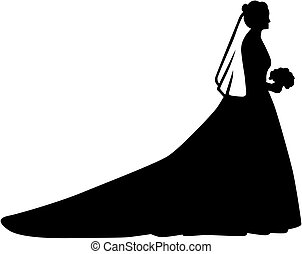 Bride silhouette with long train