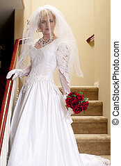 Bride Striptease Series #1 - Full Length Bride on Staircase...