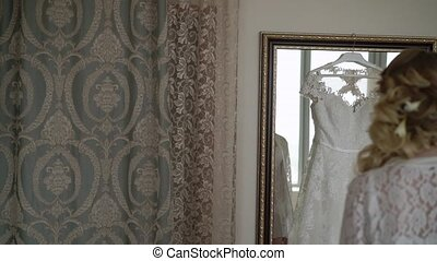 Bride takes wedding dress - Blonde bride takes wedding dress