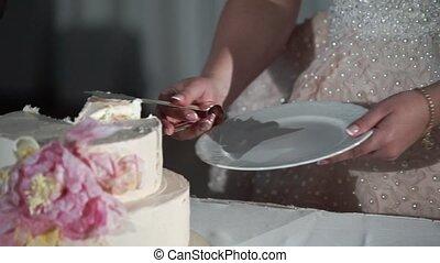 Bride taking piece of wedding cake slowmotion