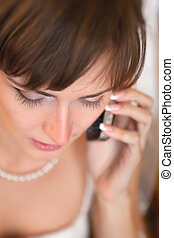 Bride talking with fiance