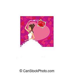 bride throws her wedding bouquet, card