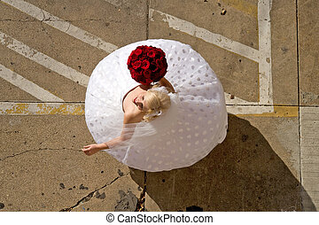 Bride Twirling in Parking Lot - Image of a bride twirling ...
