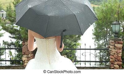 Bride under the umbrella