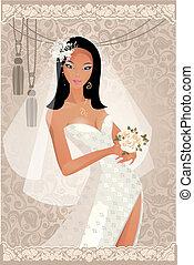 Bride with retro background