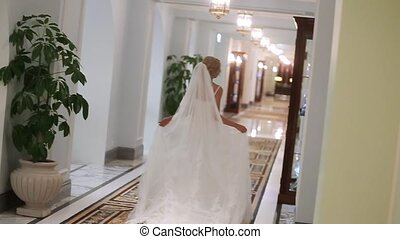 Bride walking in palace