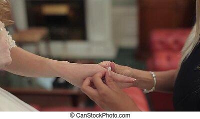 Bride wearing bracelet