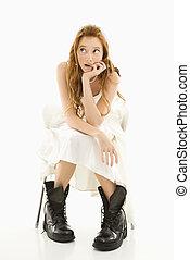 Bride wearing combat boots. - Portrait of Caucasian bride...