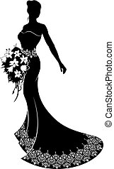 Bride Wedding Bouquet Silhouette - Bride silhouette wedding...