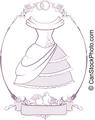 Bride wedding dress in frame