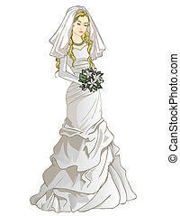 Bride with a wedding bouquet - Vector illustration of pretty...
