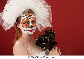 Bride with Black Roses - Bride holding Black Roses on All...