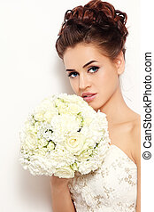 Bride with bouquet - Beautiful bride with stylish make-up...