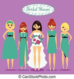 Bride with Bridesmaids. Woman in fashionable dresses. Bridal...