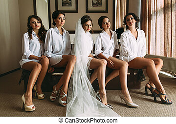 Bride with her lovely bridesmaids in the shirts