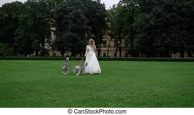 Bride with husky dogs in park