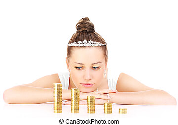 Bride with money problems - Young sad bride with gold coins...