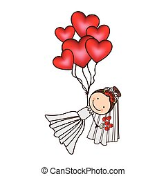 bride with red heart balloons in the hands