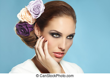 Bride With Roses In Hair