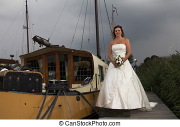 Bride with thunderclouds