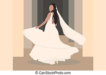 bride with veil in a wedding dress
