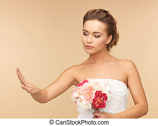 bride with wedding or engagement ring