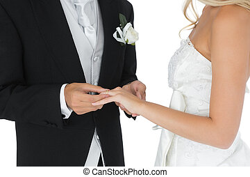 Bridegroom putting the wedding ring on his wife's finger