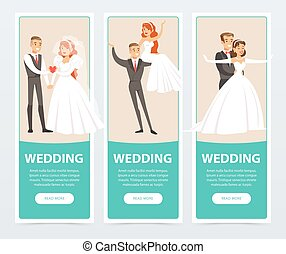 Brides and grooms, happy just married couples, wedding banners set flat vector elements for website or mobile app