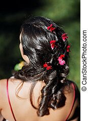Bride\\\'s hair - Detail of bride\\\'s hair at outdoor...