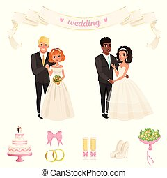 Brides in lush white dresses, grooms in classic black suits. Lovely couples. Wedding accessories bow, rings, champagne glasses, flowers, cake, shoes. Flat vector design