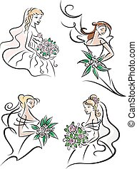Brides in white dresses with bouquets
