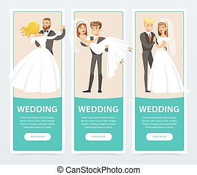 Brides in white wedding dress and grooms in black suit, happy just married couples, wedding banners set flat vector elements for website or mobile app