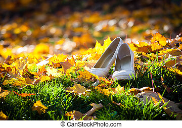 Brides shoes on golden leaves