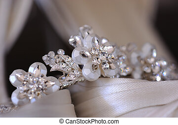Brides tiara - Close up of brides tiara resting on her...