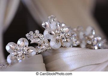 Brides tiara - Close up of brides tiara resting on her...