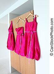 Bridesmaid dresses. - Bright pink bridesmaids dresses...