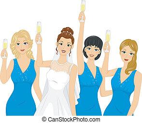 Bridesmaid Toast - Illustration Featuring Bridesmaids...