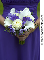 bridesmaid with wedding bouquet